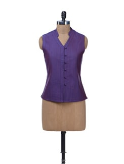 Quilted Sleeveless Purple Jacket - Vedanta