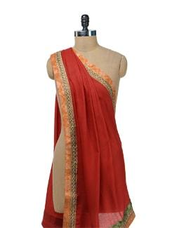 Ethnic Red Woolen Stole - Vedanta