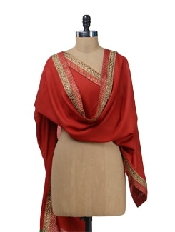 Red Woolen Stole With Brocade Border - Vedanta