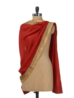 Red & Gold Ethnic Woolen Stole - Vedanta