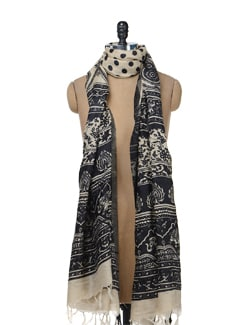 Black & Beige Printed Silk Dupatta - Vedanta