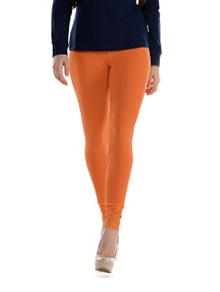 Lace Trimmed Leggings- Orange - SORRISO