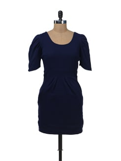 Navy Structured Bodycon Dress - Femella