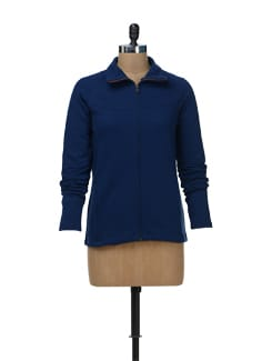 Estate Blue Zip-Up Sweatshirt - Femella