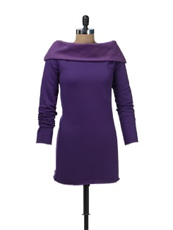 Purple Fleece Off-Shoulder Tunic - Femella