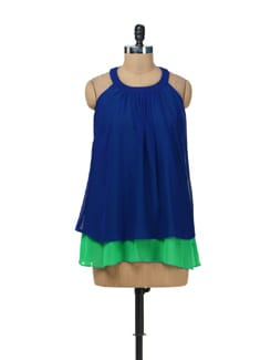 Blue & Green Halter Top - AND