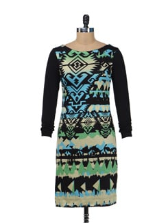 Printed Black Fitted Dress - AND