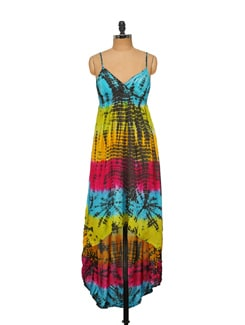 Multi Coloured Tie And Dye Dress - House Of Tantrums