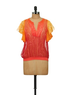 Leaf Motif Chiffon Top In Coral And Yellow - House Of Tantrums