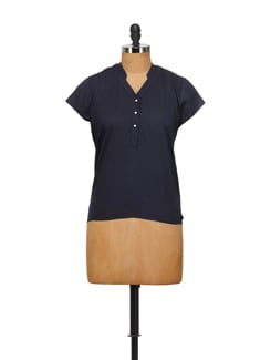 Simple Navy Blue Top - House Of Tantrums