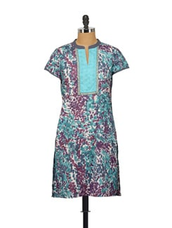 Printed Short Sleeved Kurti In Blue And Purple - House Of Tantrums