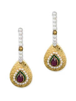 Maroon & Green Ethnic Earrings - Vendee Fashion