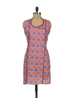 Stylish Printed Kurti With High Neck - Palette