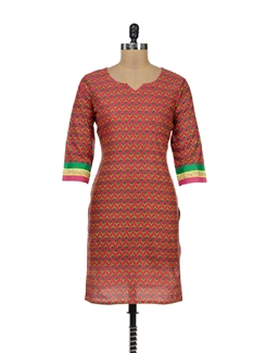 Printed Pink Kurta With Gota Lace Sleeves - Palette