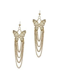 Drop Chain Butterfly Earrings - Blend Fashion Accessories