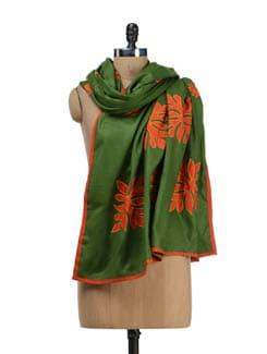 Green & Rust Woollen Shawl - Vayana