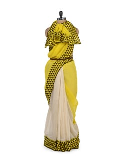 Two-tone Jute Cotton Saree - URBAN PARI