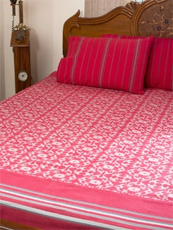 Pink And White Patterned Double Bed Sheet - HOUSE THIS