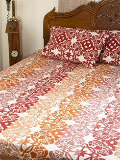 Melange Of Red And Orange Double Bed Sheet Set - HOUSE THIS