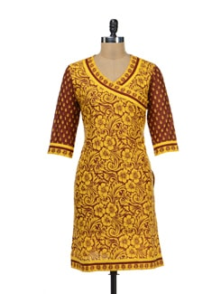 Striking Yellow And Brown Kurti With Intricate Floral Motif - Paridhaan