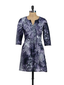 Purple Animal Print Cotton Kurti - Garden