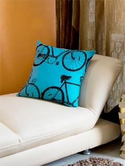 Blue And Black Bicycle Print Cushion Cover - HOUSE THIS
