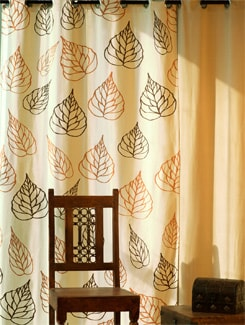 Leaf Pattern Door Curtain - HOUSE THIS