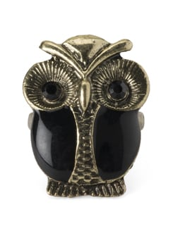 Black & Gold Owl Ring - YOUSHINE