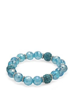 Faceted Pastel Blue Crystal Bracelet - Ivory Tag