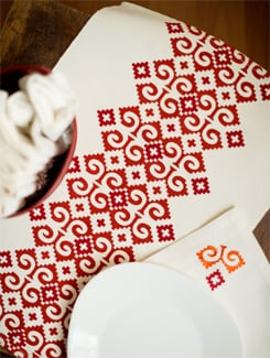 Red And White Placemat And Napkin Gift Set - HOUSE THIS