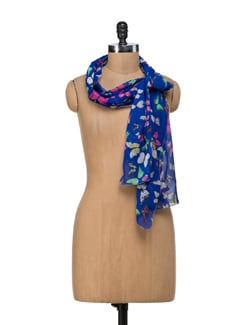 Royal Blue Butterfly Scarf - Ivory Tag