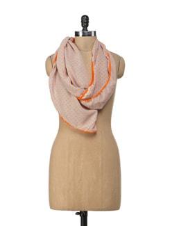 Neon Orange And Grey Polka Scarf - Ivory Tag