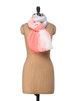 Lacy Coral Scarf - Ivory Tag