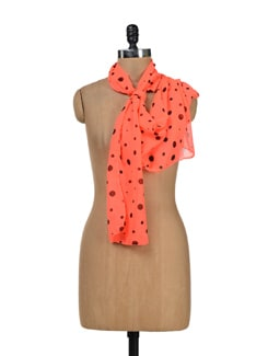 Neon Coral Polka Dotted Scarf - Ivory Tag