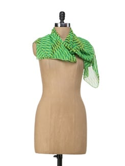 Striped Green Scarf - Ivory Tag