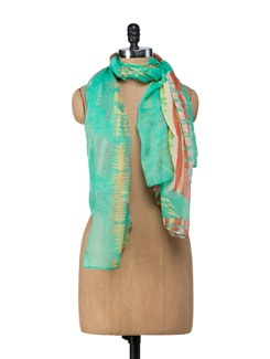 Graphic Print Mint Green Scarf - Ivory Tag