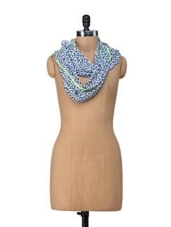 Dotty Neon Green Scarf - Ivory Tag