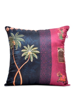 Tamara Grooving Palms Poly Silk Cushion Cover - India Circus