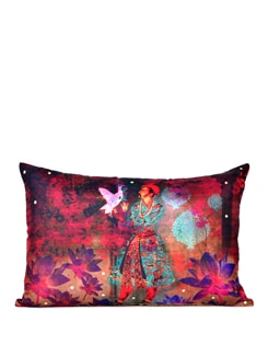 Neo Nawab Lotus Prince Poly Silk Cushion Cover - India Circus