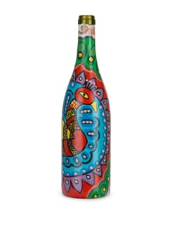 Peacock With Open Feathers Handpainted Bottle - BOTTLES NOT EMPTY