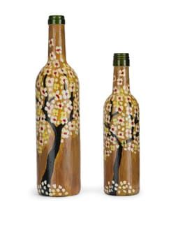 Set Of 2 Handpainted Bottles- Autumn Leaves - BOTTLES NOT EMPTY