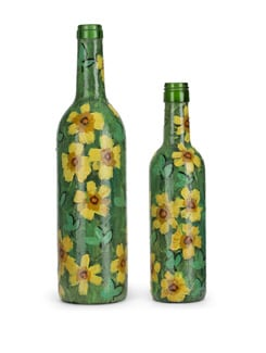 Set Of 2 Handpainted Bottles- Sunflowers - BOTTLES NOT EMPTY