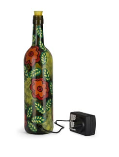 Red Flowers  LED  Glass Bottle Lamp - BOTTLES NOT EMPTY