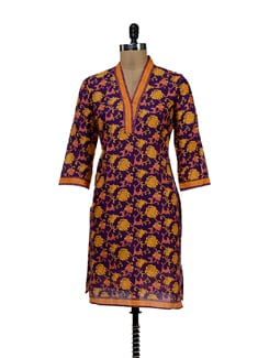 Floral Kurti In Purple - NEE
