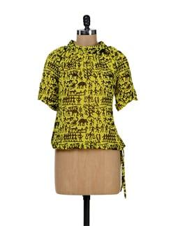 Warli Print Top In Lemon Yellow - Tapyti