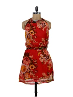 Charming Floral Dress In Red - Tapyti