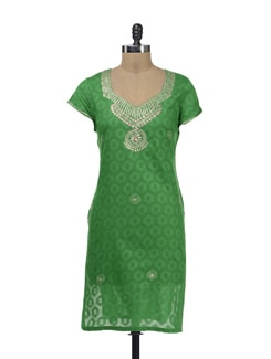 Elegant Green Kurta With Zari Work - Lyla