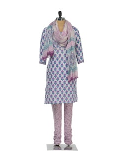 Printed White Kurta & Churidar Set - Lyla