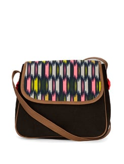 Black Sling Bag With Neon Bright Abstract Print - DESI DRAMA QUEEN