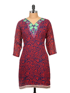 Navy & Orange Printed Kurta - KYLA F